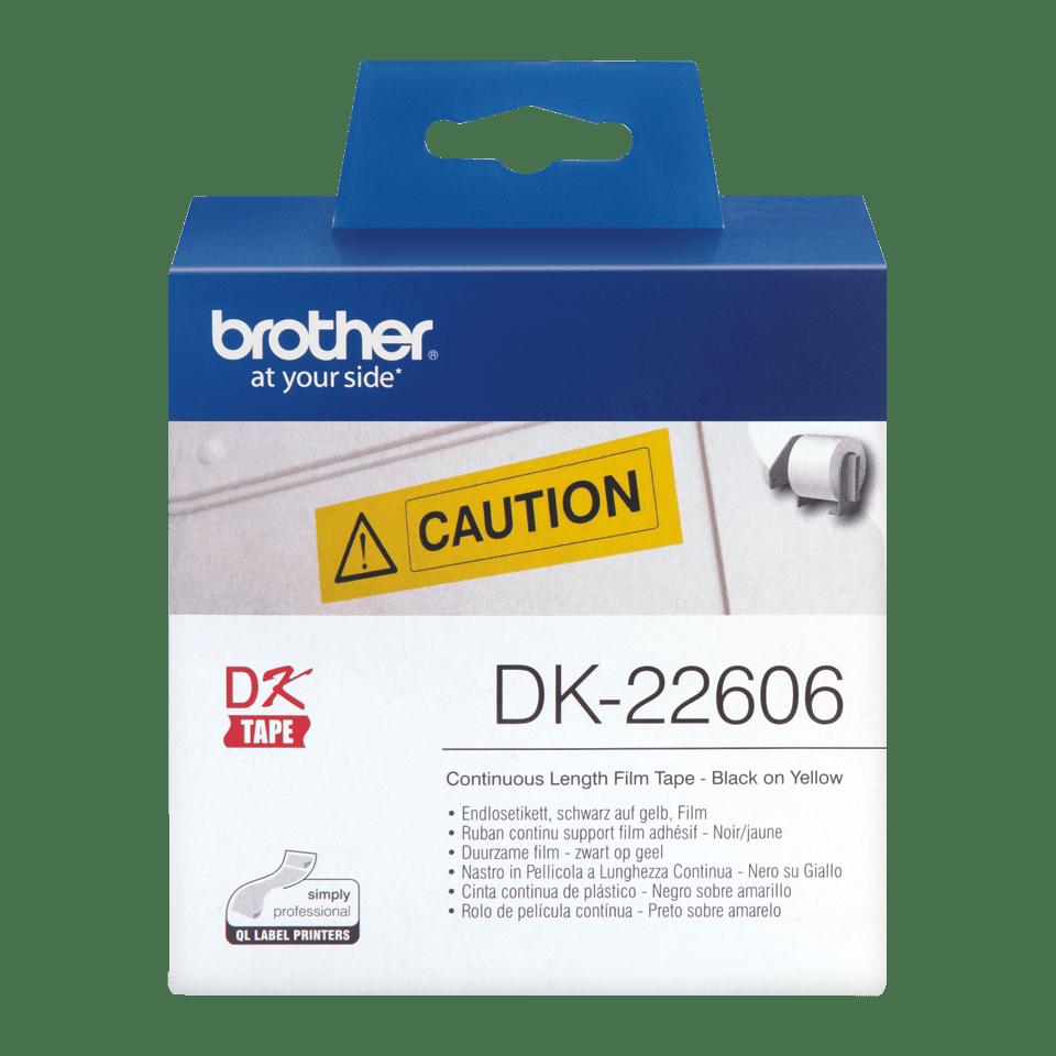 Originele Brother DK-22606 doorlopende labelrol – film, zwart op geel - breedte 62 mm 2