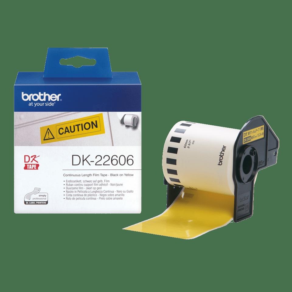 Originele Brother DK-22606 doorlopende labelrol – film, zwart op geel - breedte 62 mm