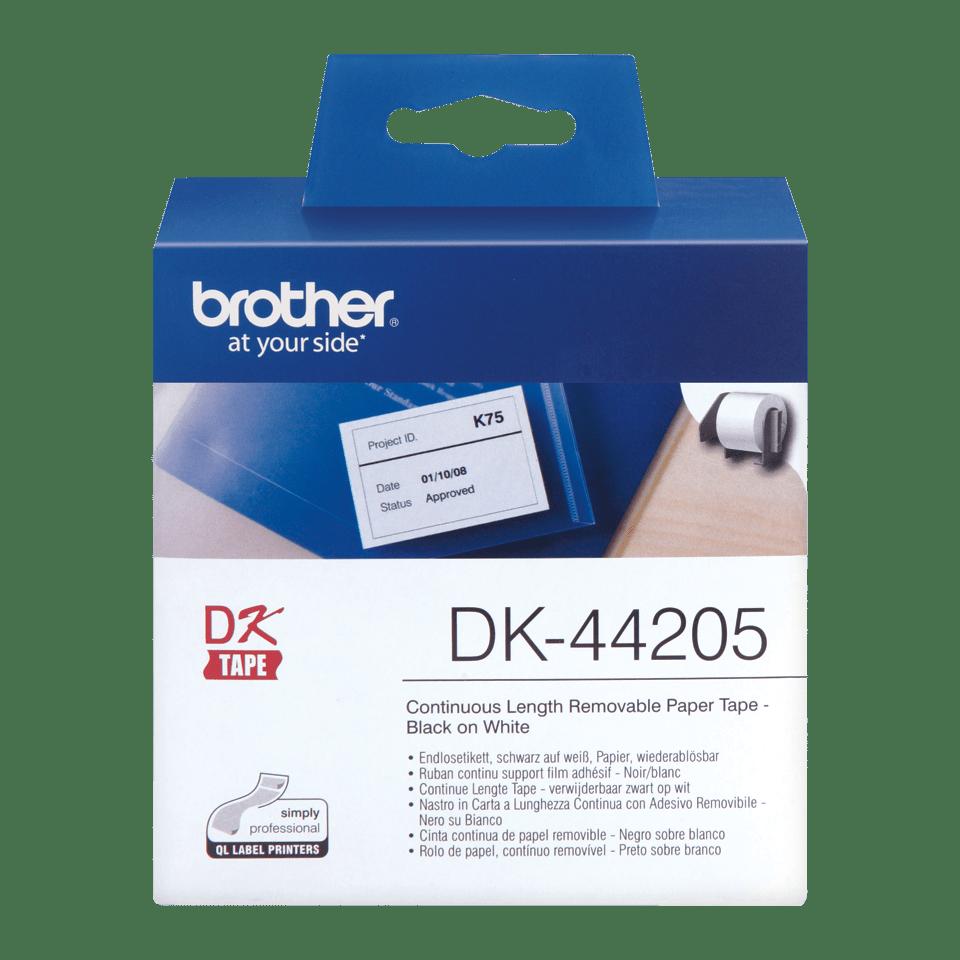 Originele Brother DK-44205 doorlopende labelrol - papier, verwijderbaar – zwart op wit, breedte 62 mm