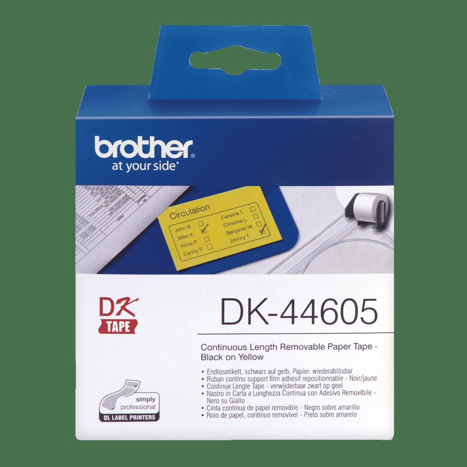 Originele Brother DK-44605 labelrol – papier, verwijderbaar - zwart op geel, breedte 62 mm