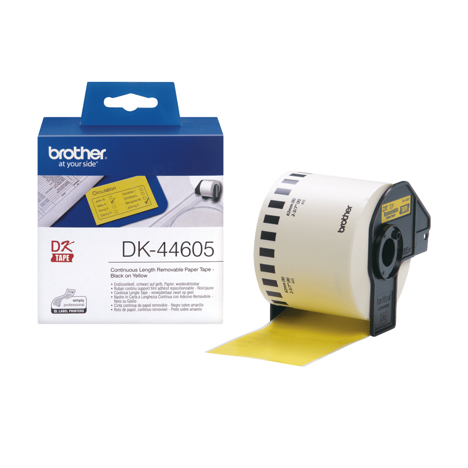 Originele Brother DK-44605 labelrol – papier, verwijderbaar - zwart op geel, breedte 62 mm  3