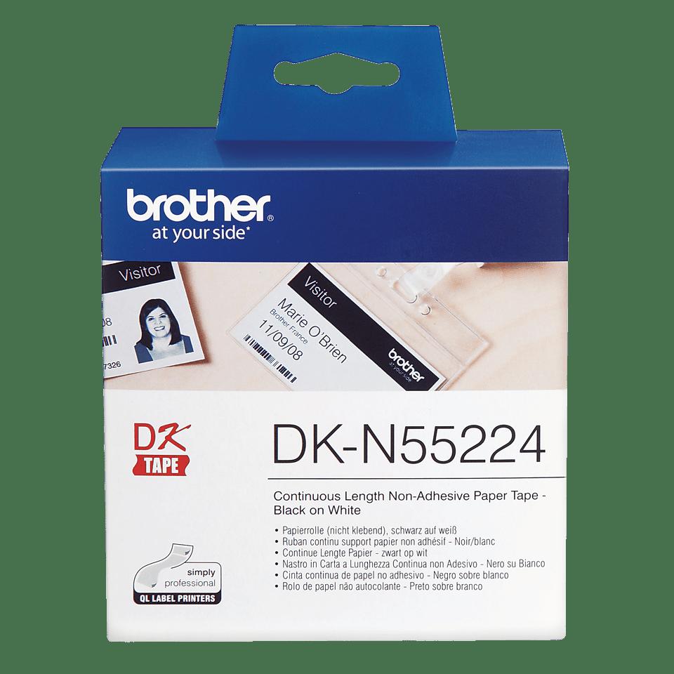 Originele Brother DK-N55224 doorlopende labelrol - papier, niet klevend - zwart op wit, breedte 54 mm