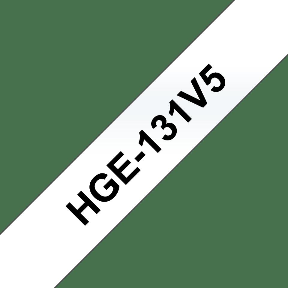 Originele Brother HGe-131V5 label tapecassette – hoogwaardig - 5x zwart op transparant, breedte 12 mm