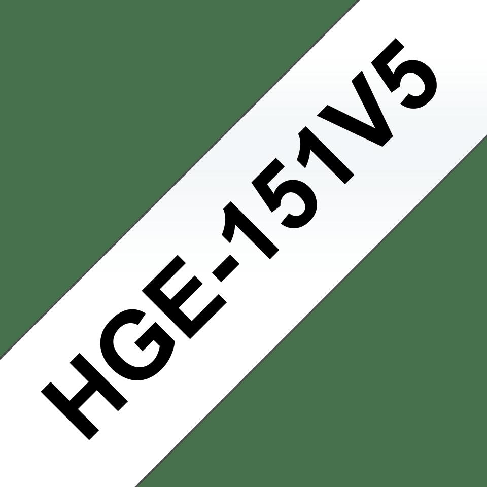 Originele Brother HGe-151V5 label tapecassette – hoogwaardig - 5x zwart op transparant, breedte 24 mm