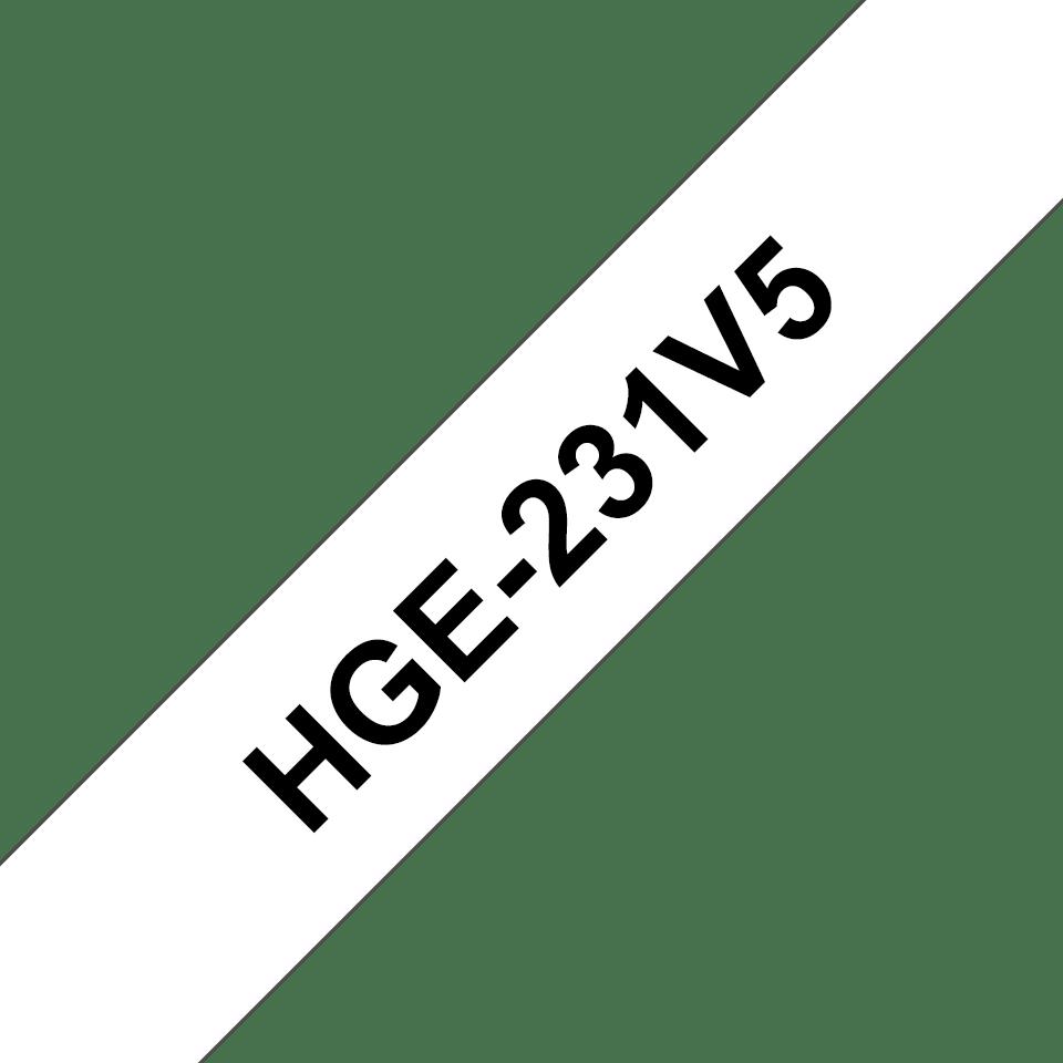 Originele Brother HGe-231V5 voordeelpak  - hoogwaardige label tapecassette – 5x zwart op wit, breedte 12mm