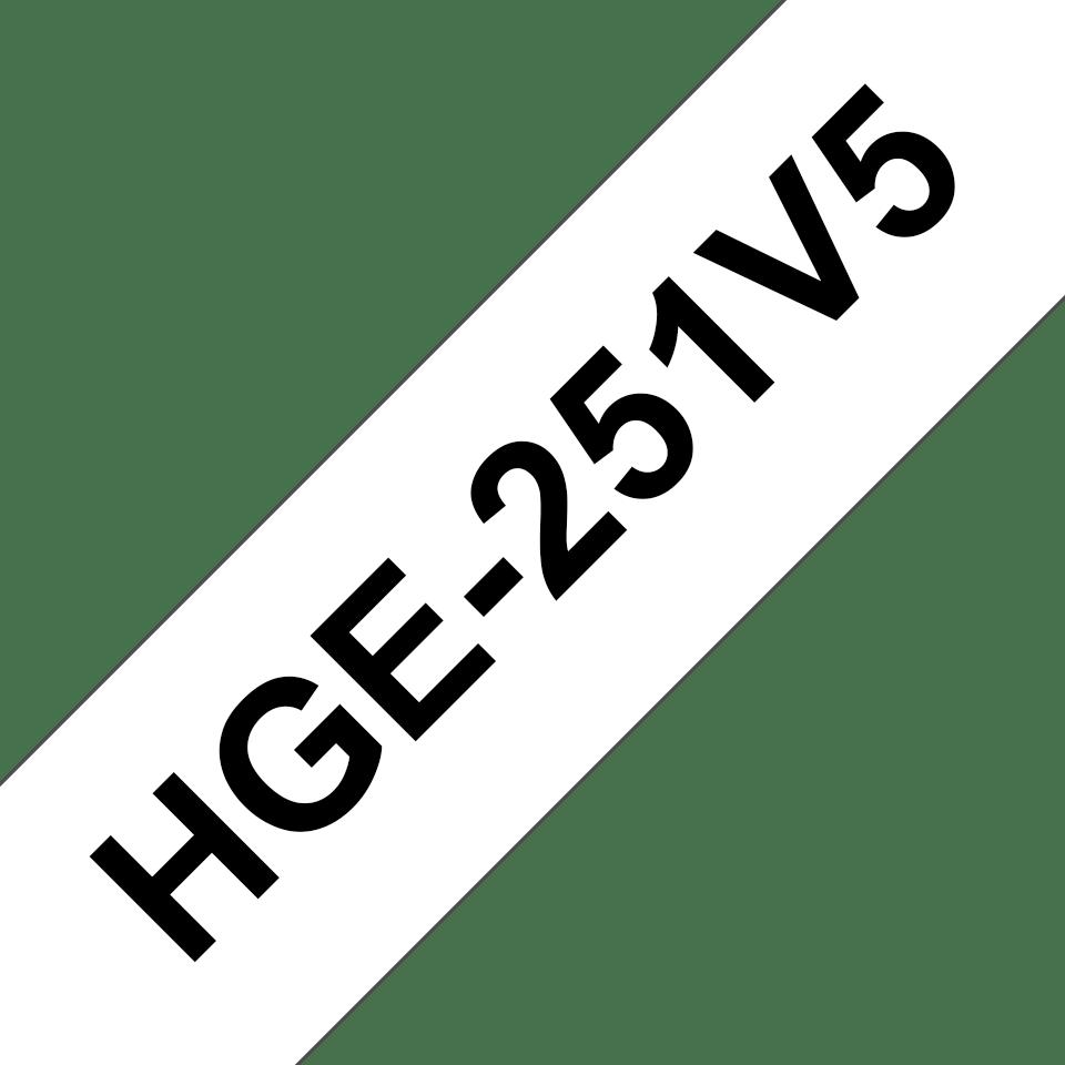 Originele Brother HGe-251V5 label tapecassette – hoogwaardig -  5x zwart op wit, breedte 24mm