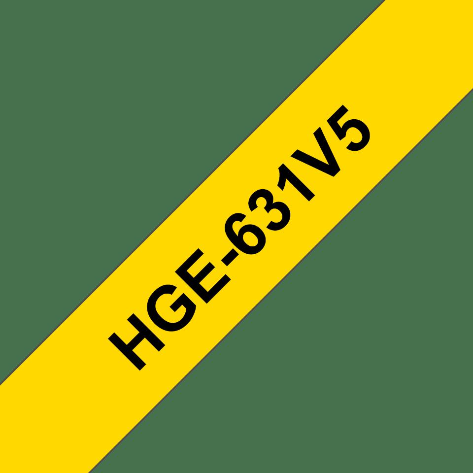 Originele Brother HGe-631V5 label tapecassette – hoogwaardig - 5x zwart op geel, breedte 12 mm