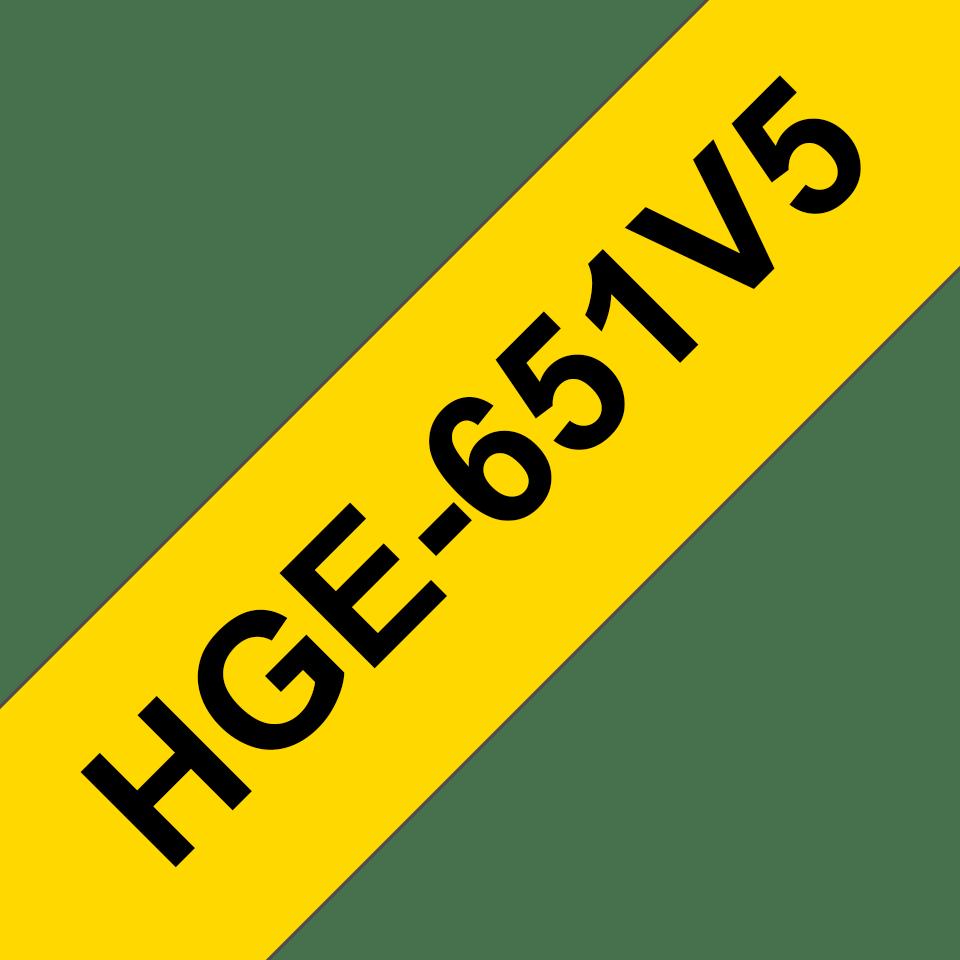 Originele Brother HGe-651V5 label tapecassette – hoogwaardig - 5x zwart op geel, breedte 24 mm