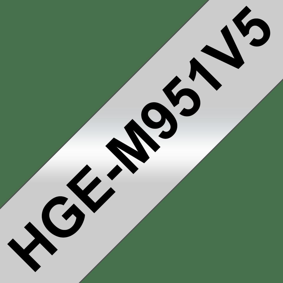 Originele Brother HGe-951V5 labeltapes – zwart op mat zilver, breedte 24 mm