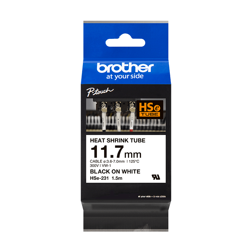 Originele Brother HSe-231 krimpkous tape cassette – zwart op wit, voor 3,6 - 7,0 mm diameter 3