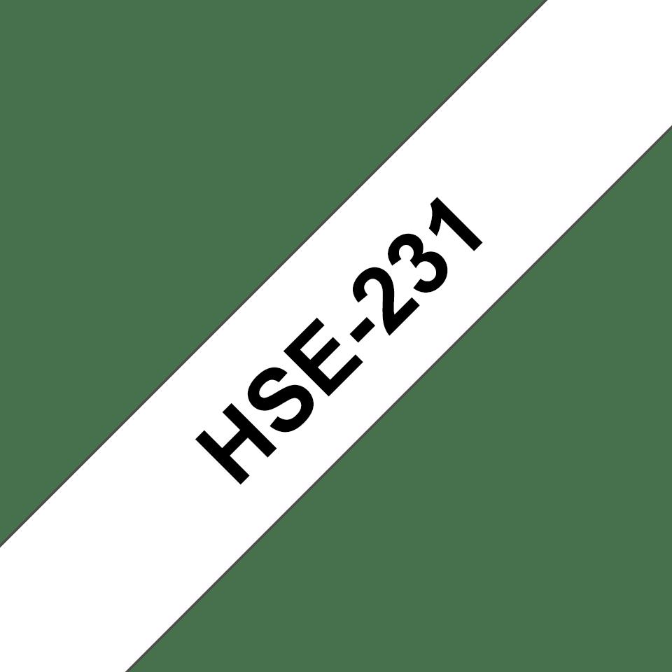 Originele Brother HSe-231 krimpkous tape cassette – zwart op wit, voor 3,6 - 7,0 mm diameter