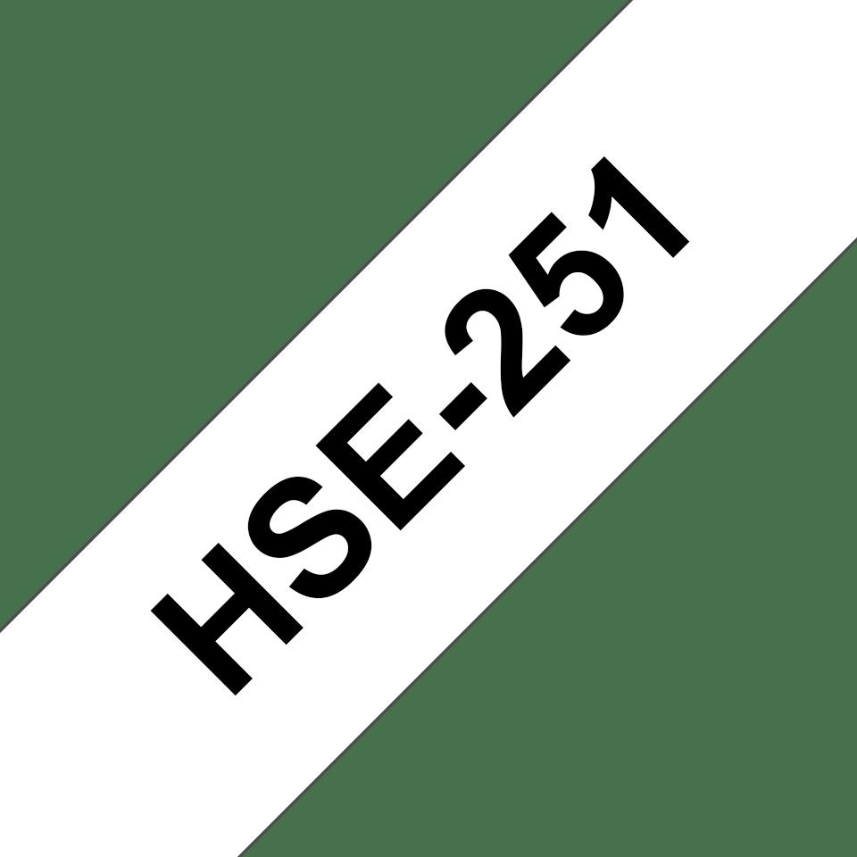 Originele Brother HSe-251 krimpkous tape cassette – zwart op wit, voor 7,3 - 14,3 mm diameter