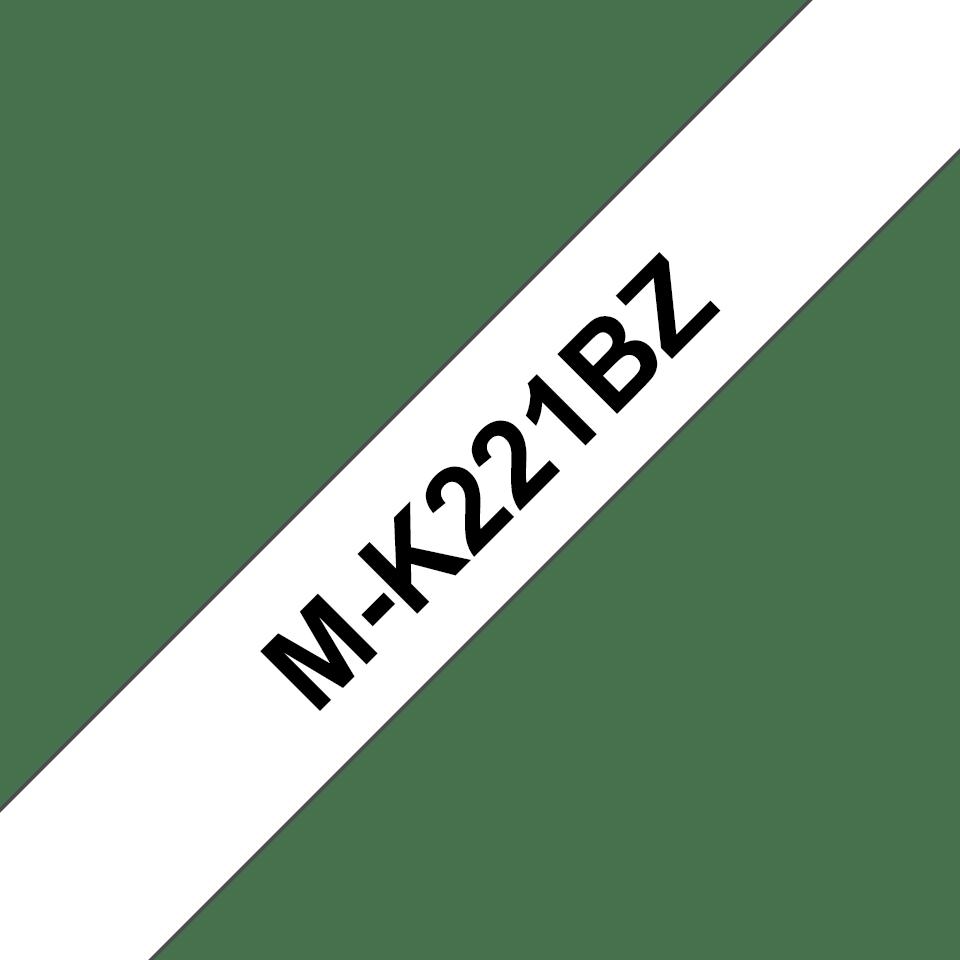 Originele Brother M-K221BZ labeltape niet-gelaineerd– zwart op wit, breedte 9 mm