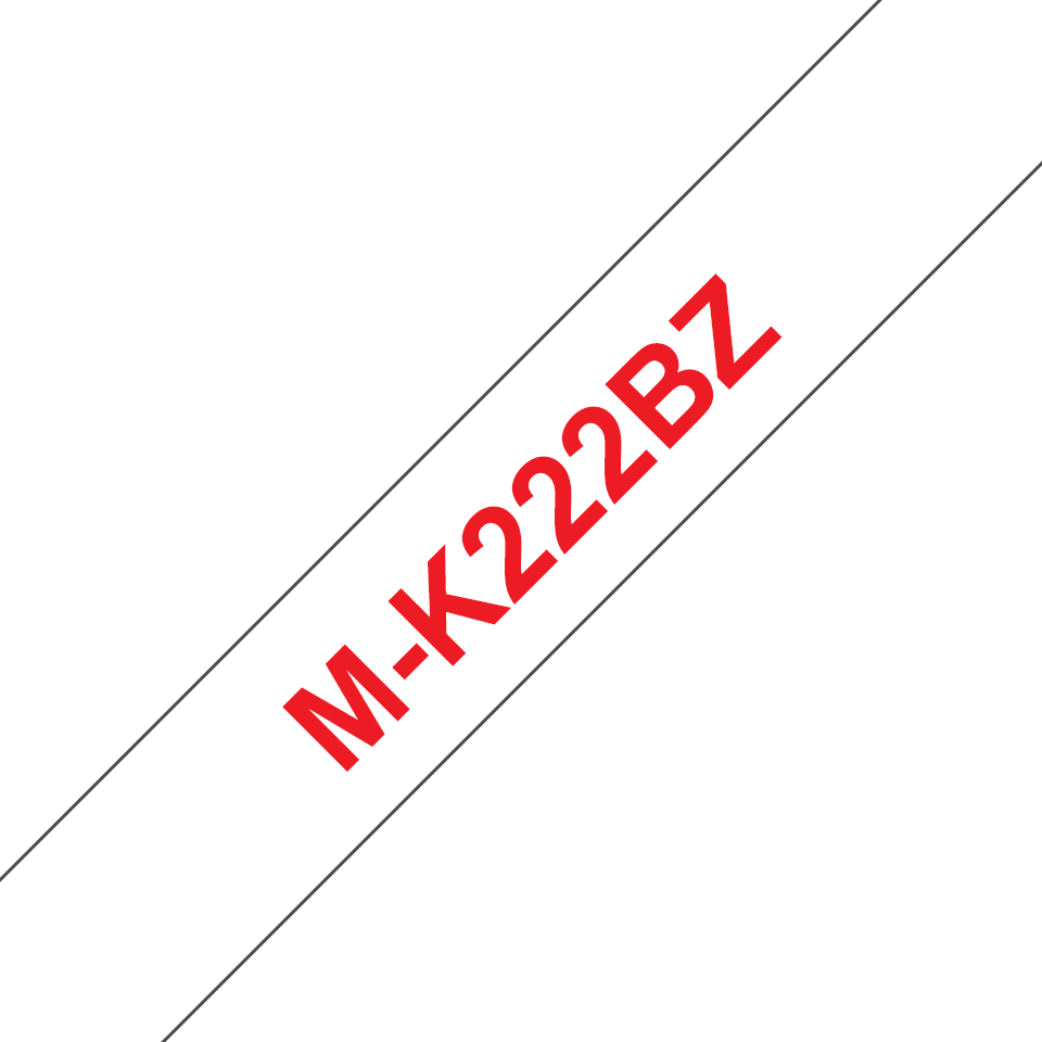Originele Brother M-K222BZ label tapecassette – rood op wit, breedte 9 mm
