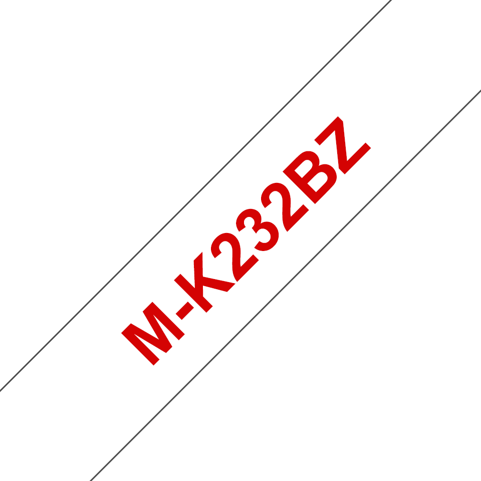 Originele Brother M-K232BZ label tapecassette – rood op wit, breedte 12 mm