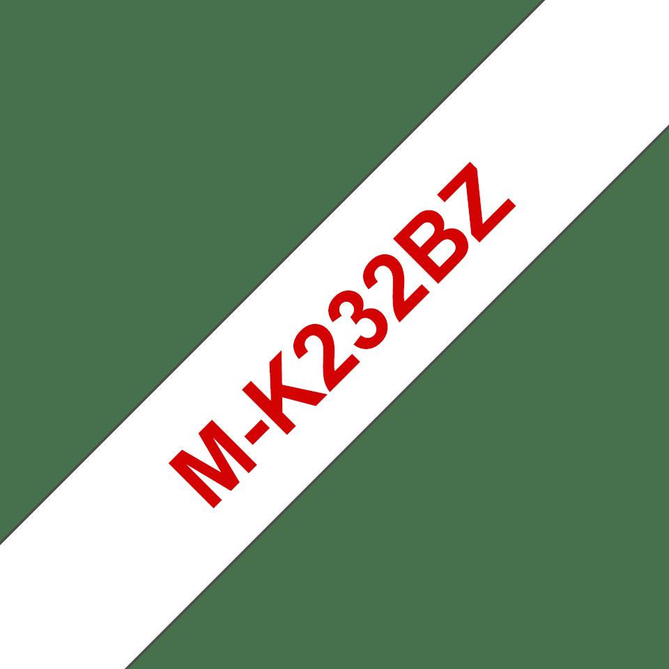Originele Brother M-K232BZ label tapecassette – rood op wit, breedte 12 mm