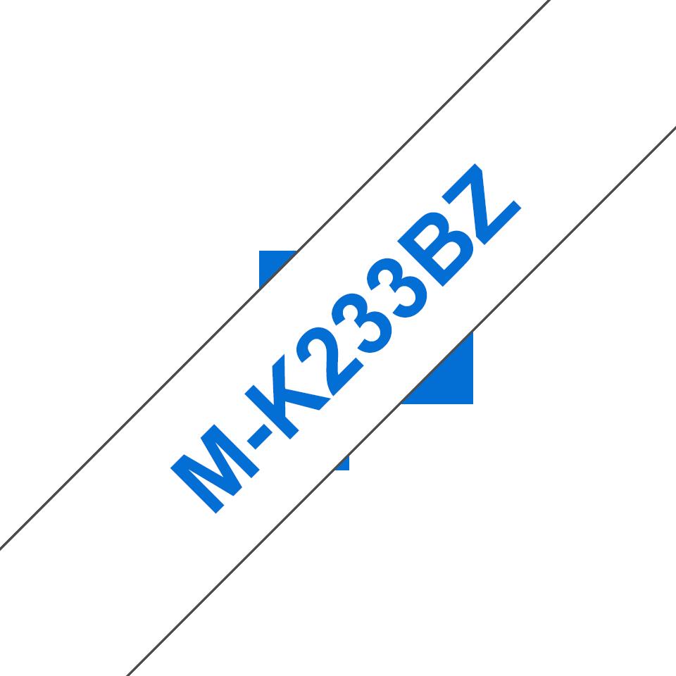 Originele Brother M-K233BZ label tapecassette – blauw op wit, breedte 12 mm