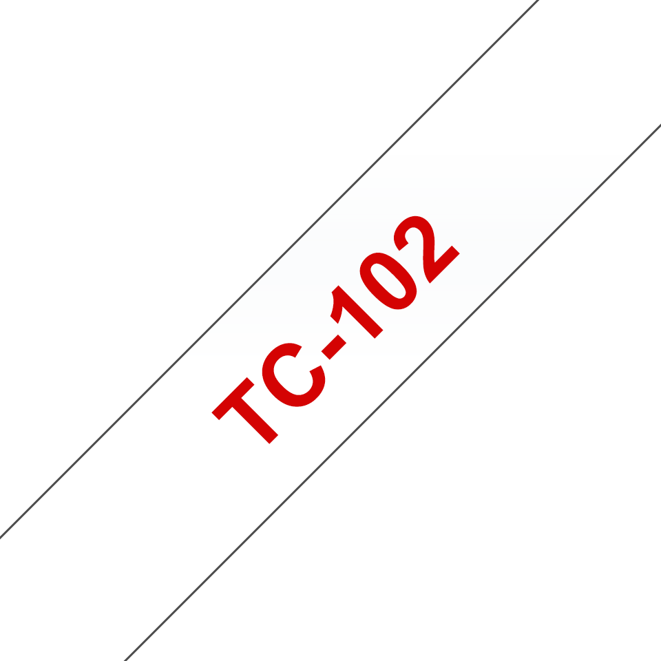 Originele Brother TC-102 label tapecassette – rood op transparant, breedte 12 mm