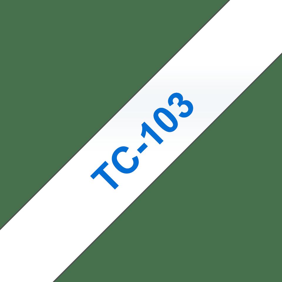 Originele Brother TC-103 label tapecassette – blauw op transparant, breedte 12 mm