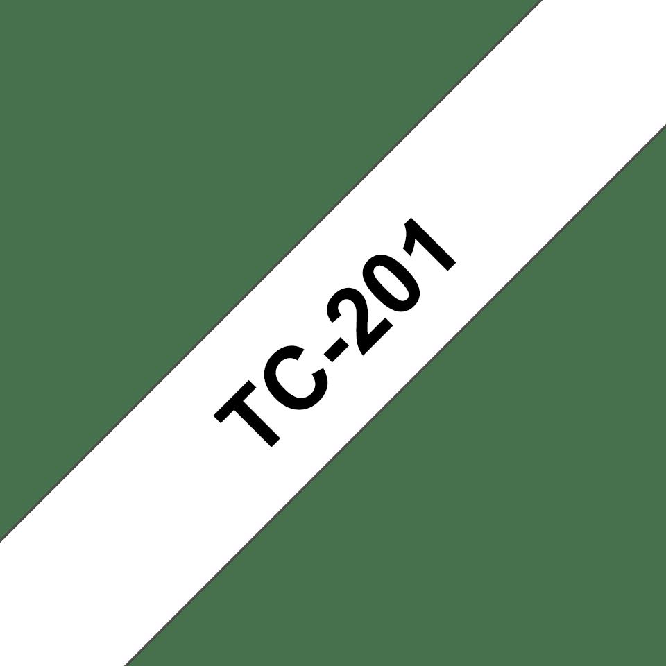 Originele Brother TC-201 label tapecassette – zwart op wit, breedte 12mm
