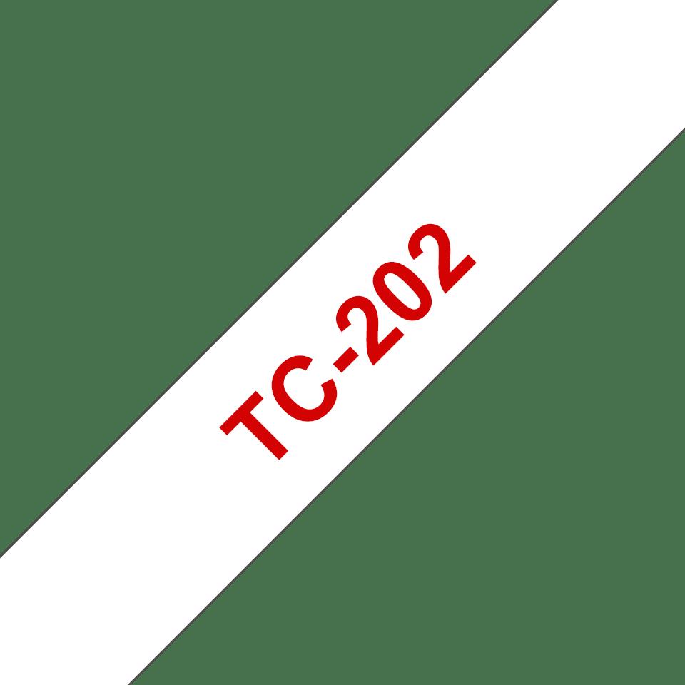 Originele Brother TC-202 label tapecassette – rood op wit, breedte 12 mm