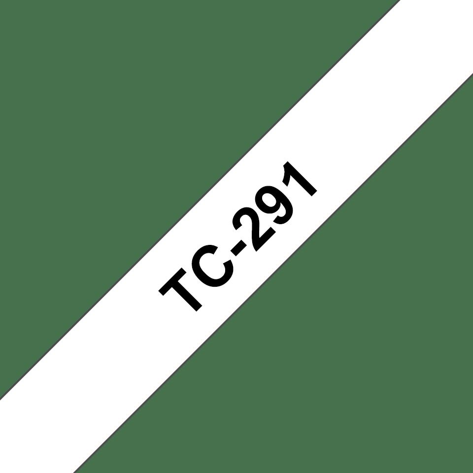 Originele Brother TC-291 label tapecassette – zwart op wit, breedte 9 mm