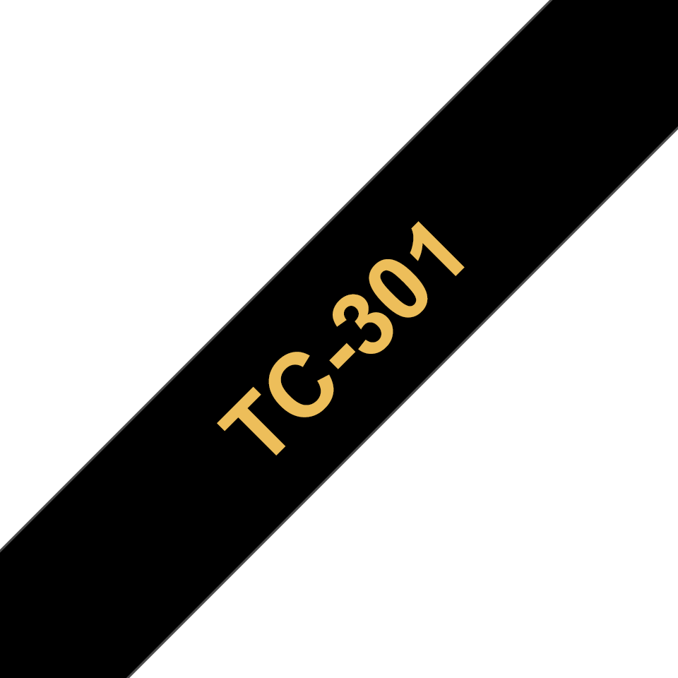 Originele Brother TC-301 label tapecassette – goud op zwart, breedte 12 mm