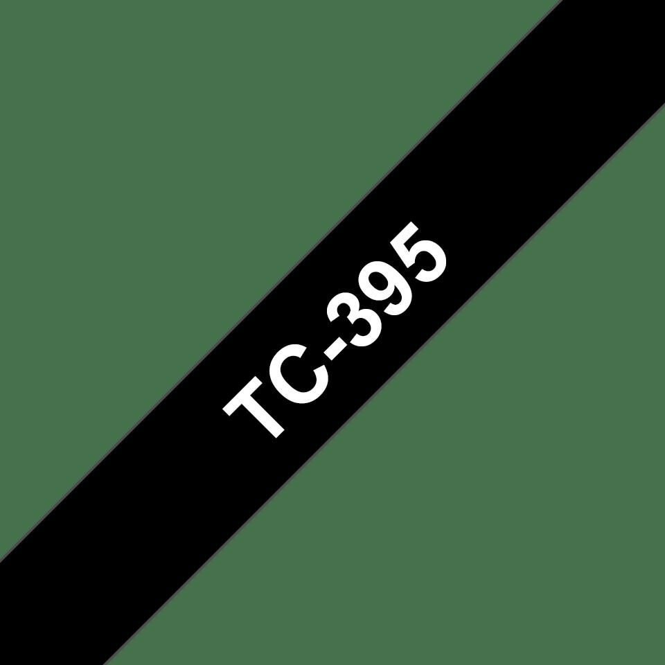Originele Brother TC-395 label tapecassette – wit op zwart, breedte 9 mm