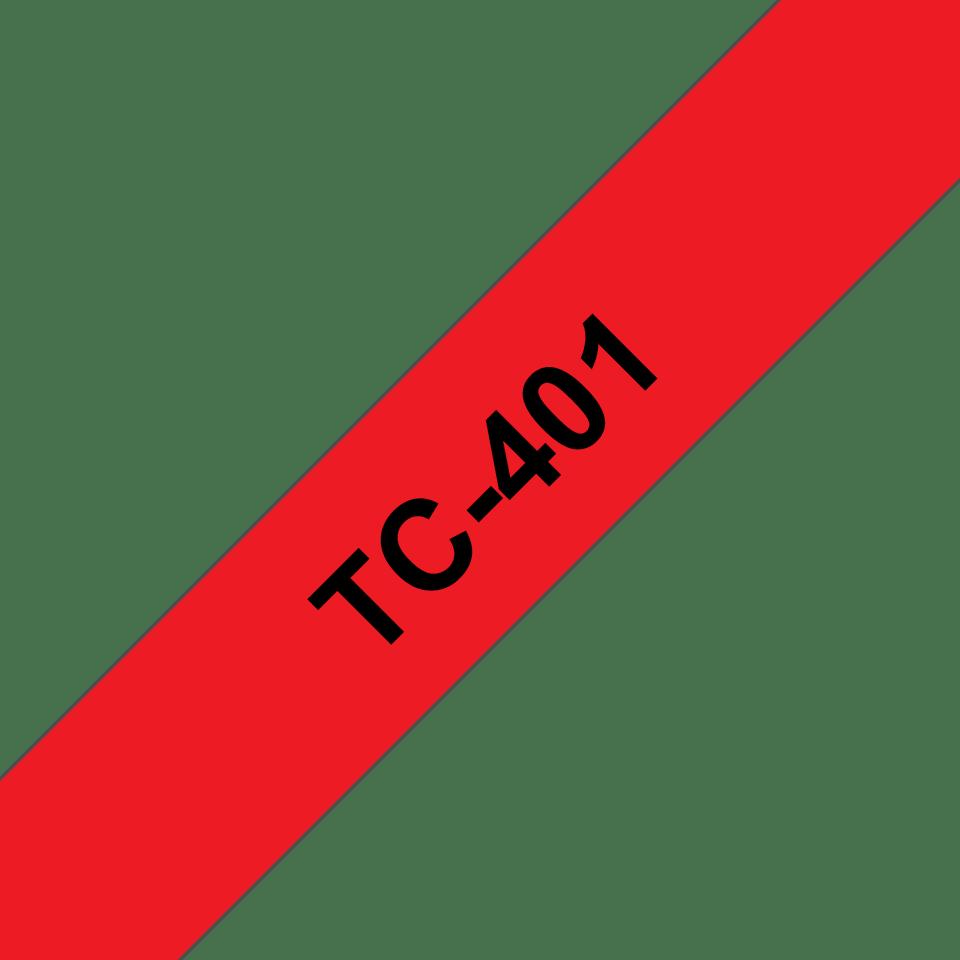 Originele Brother TC-401 label tapecassette – zwart op rood, breedte 12 mm