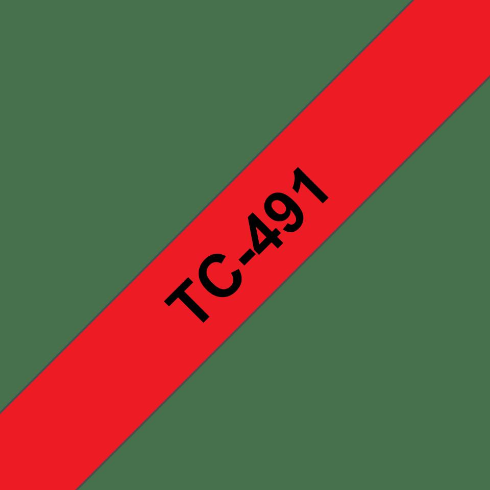 Originele Brother TC-491 label tapecassette – zwart op rood, breedte 9mm