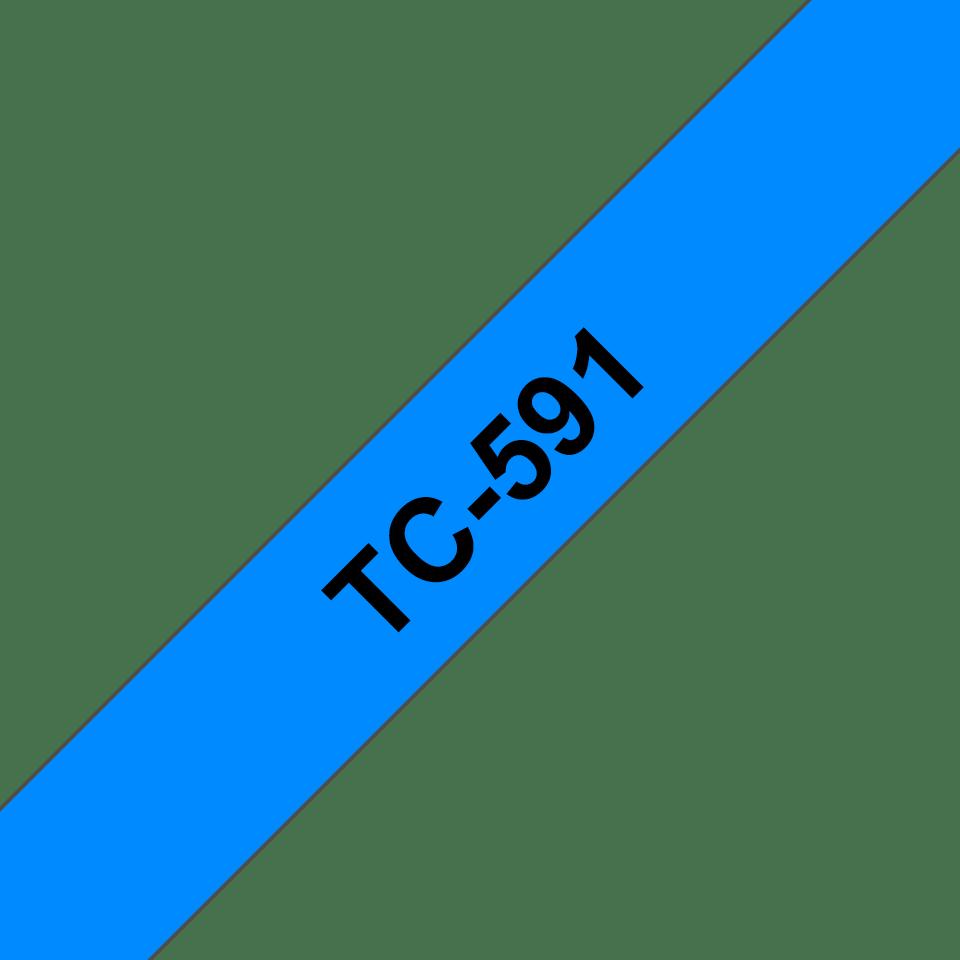 Originele Brother TC-591 label tapecassette – zwart op blauw, breedte 9mm
