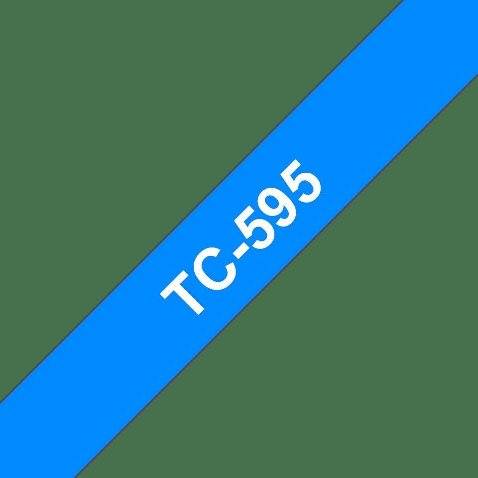 Originele Brother TC-595 label tapecassette – wit op blauw, breedte 9 mm