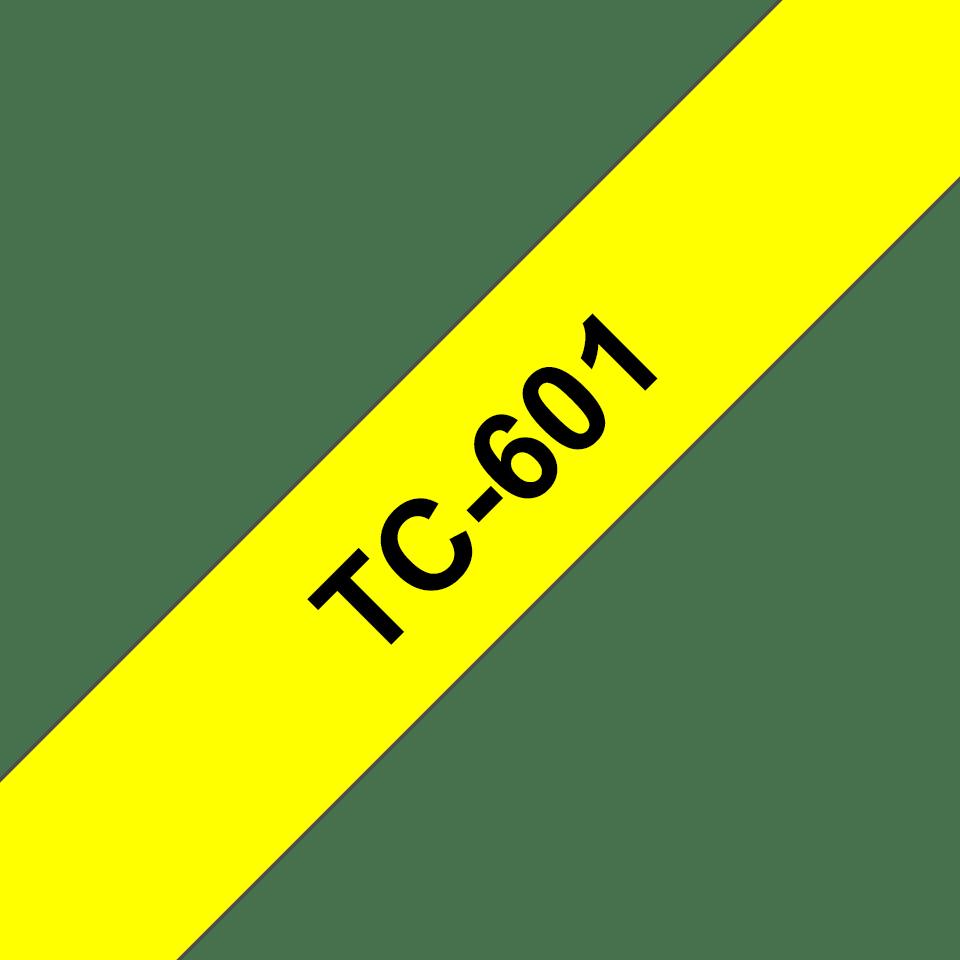 Originele Brother TC-601 label tapecassette – zwart op geel, breedte 12 mm