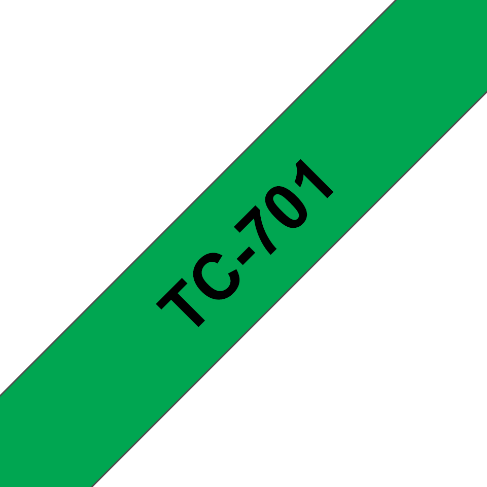 Originele Brother TC-701 label tapecassette – zwart op groen, breedte 12 mm