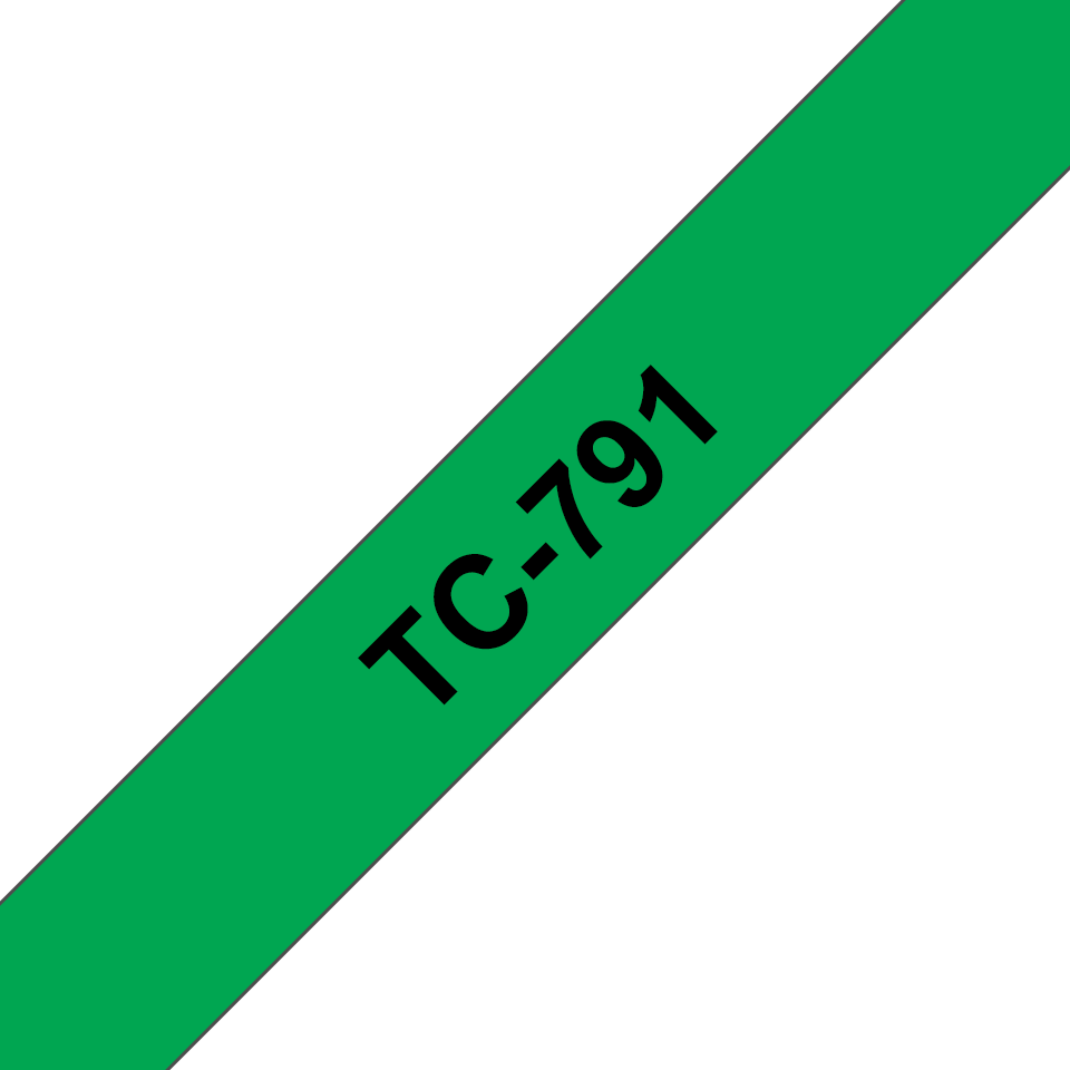 Originele Brother TC-791 label tapecassette – zwart op groen, breedte 9mm