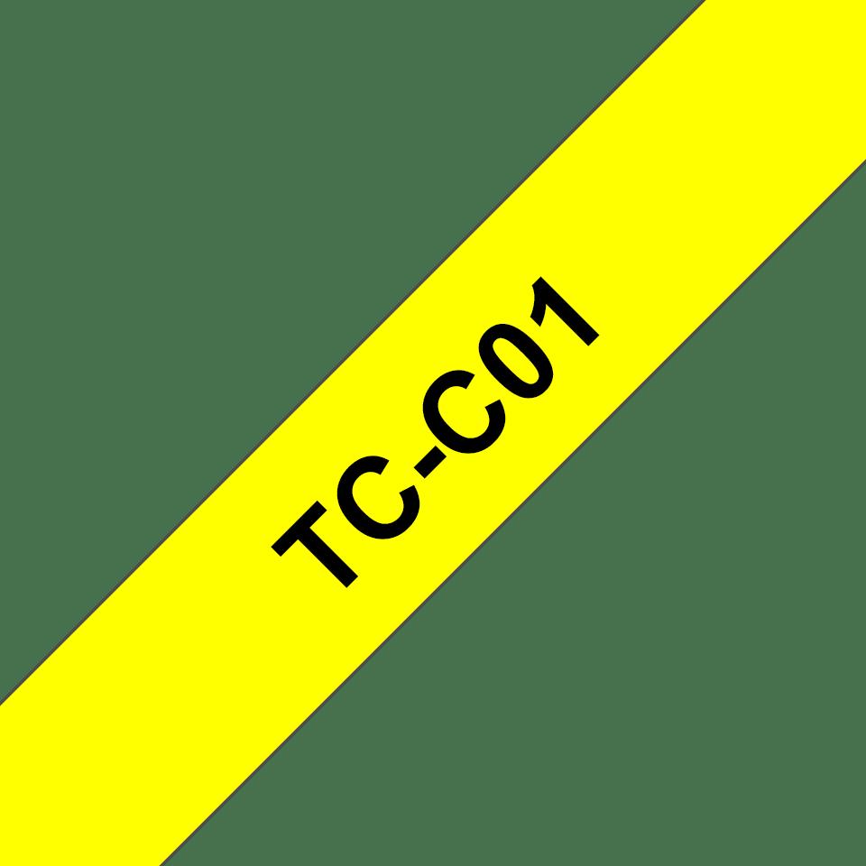 Originele Brother TC-B01 fluorescerende label tapecassette – zwart op oranje, breedte 12 mm