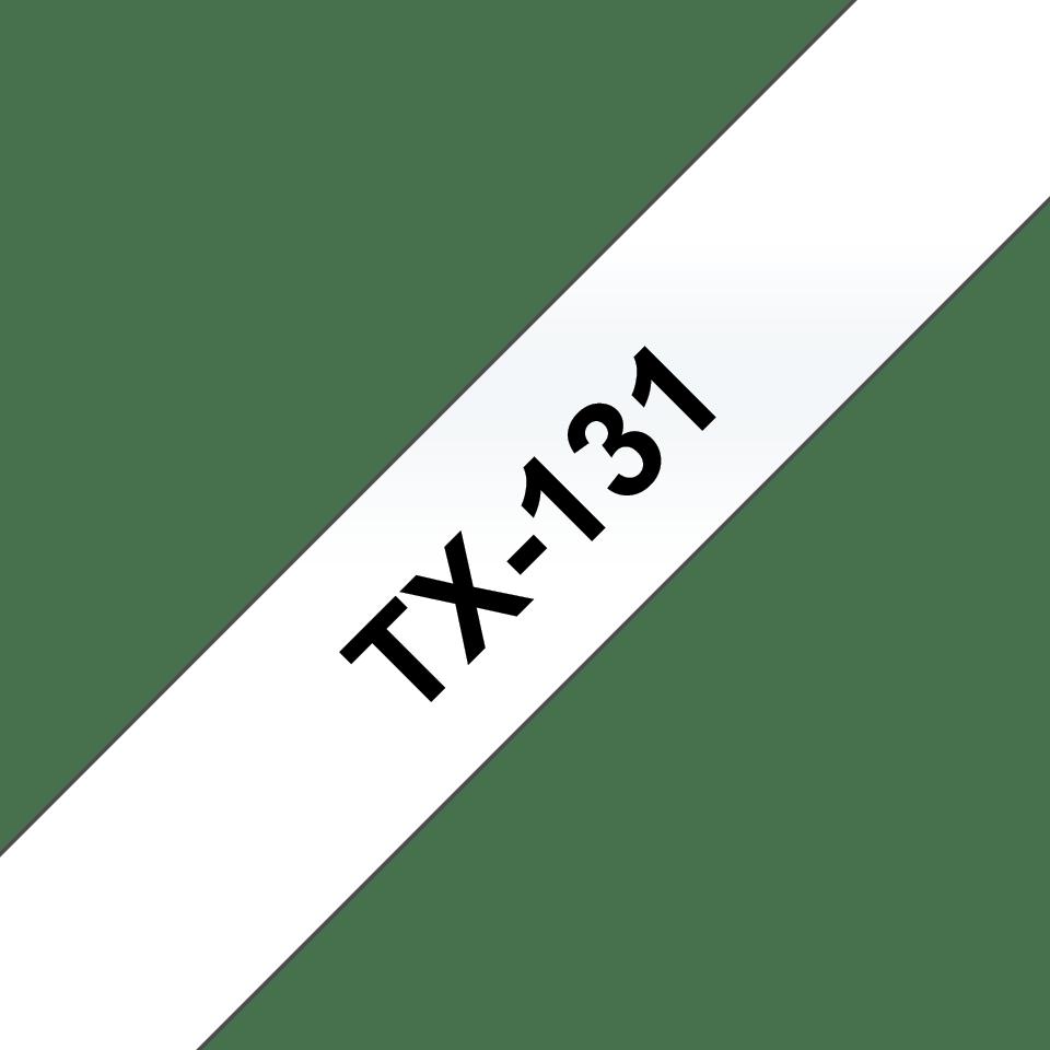 Originele Brother TX-131 label tapecassette – zwart op transparant, breedte 12 mm