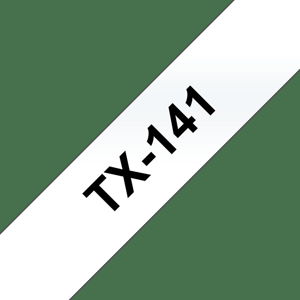 Originele Brother TX-141 label tapecassette – zwart op transparant, breedte 18 mm