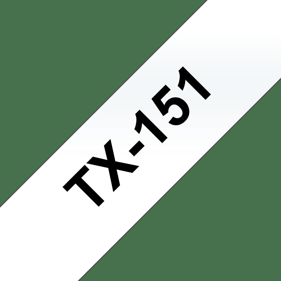 Originele Brother TX-151 label tapecassette – zwart op transparant, breedte 24 mm