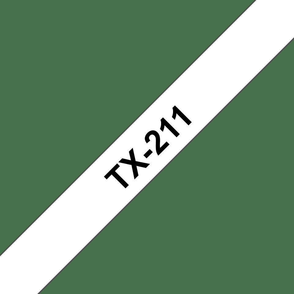Originele Brother TX-211 label tapecassette – zwart op wit, breedte 6 mm