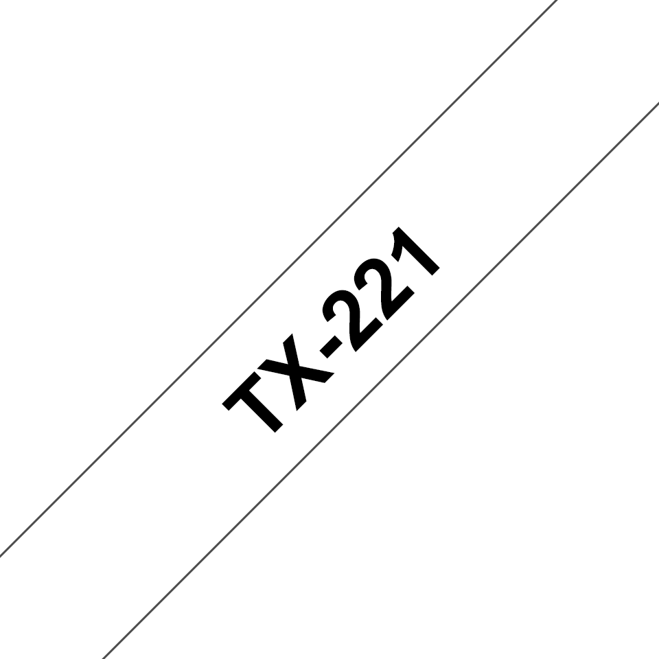 Originele Brother TX-221 label tapecassette – zwart op wit, breedte 9 mm