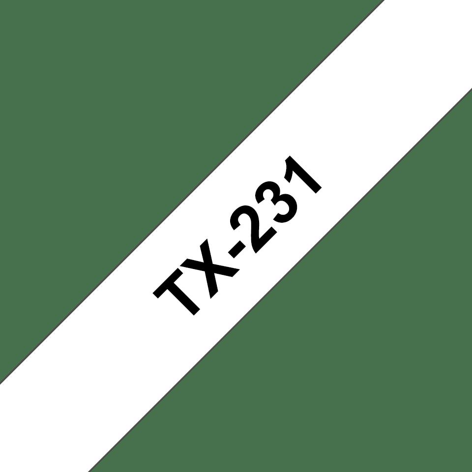 Originele Brother TX-231 label tapecassette – zwart op wit, breedte 12 mm