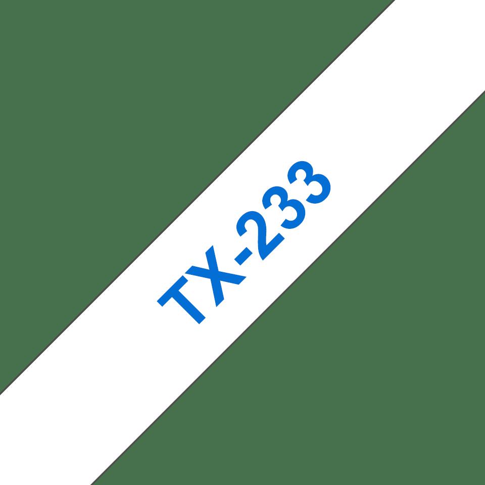 Originele Brother TX-233 label tapecassette – blauw op wit, breedte 12 mm