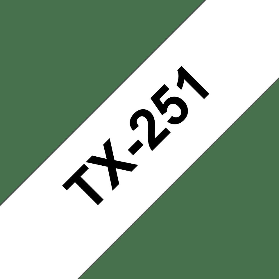 Originele Brother TX-251 label tapecassette – zwart op wit, breedte 24 mm