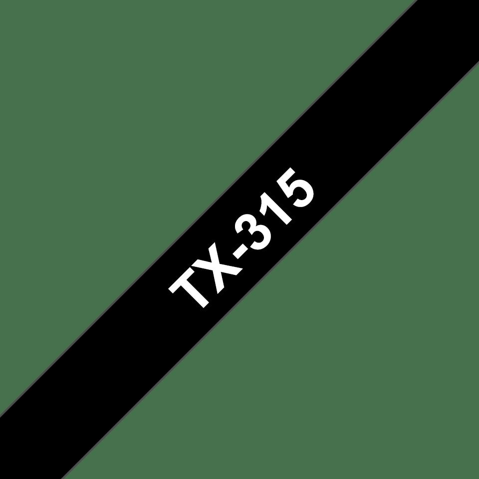 Originele Brother TX-315 label tapecassette – wit op zwart, breedte 6 mm