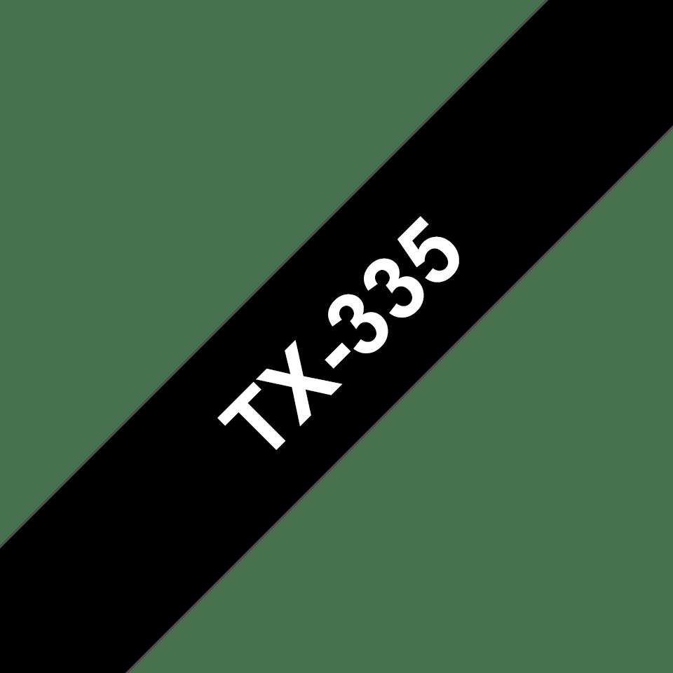 Originele Brother TX-335 label tapecassette – wit op zwart, breedte 12 mm