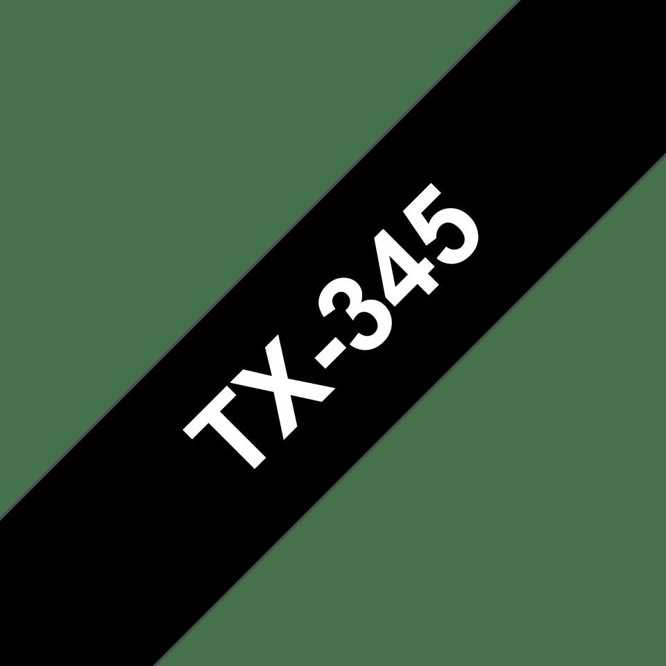 Originele Brother TX-345 label tapecassette – wit op zwart, breedte 18 mm