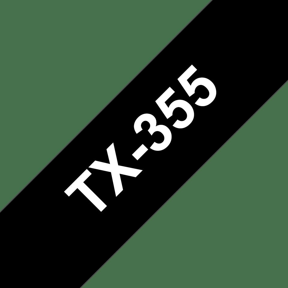 Originele Brother TX-355 label tapecassette – wit op zwart, breedte 24 mm