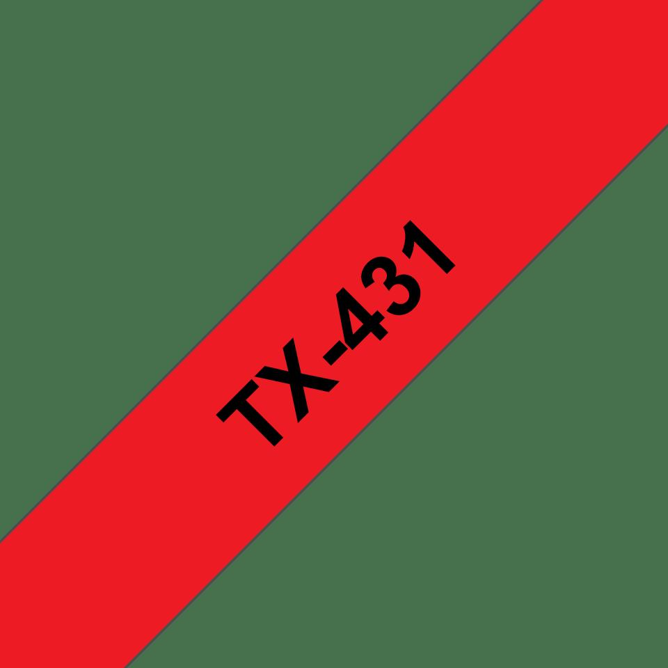 Originele Brother TX-431 label tapecassette – zwart op rood, breedte 12 mm