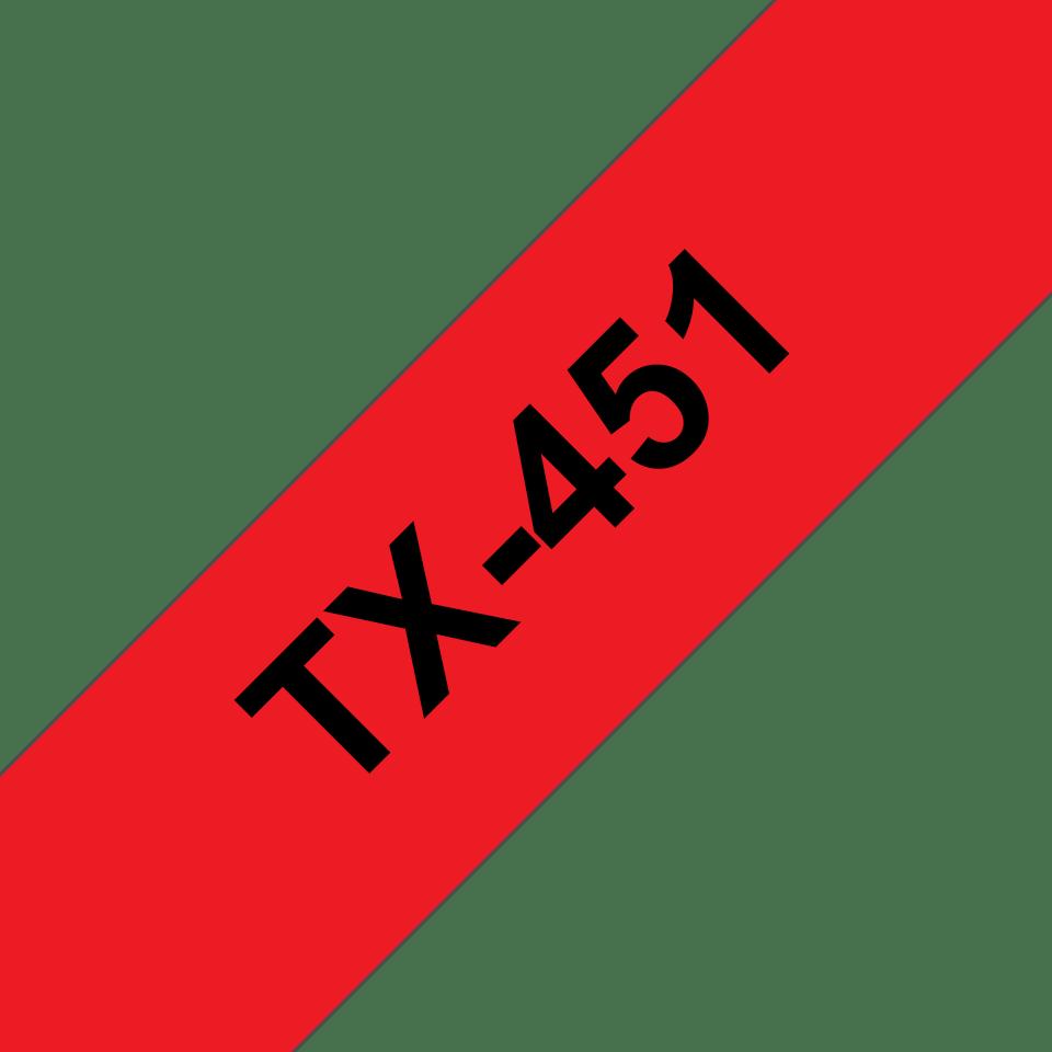 Originele Brother TX-451 label tapecassette – zwart op rood, breedte 24 mm